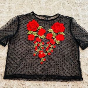 Forever 21 red rose heart shaped mesh top